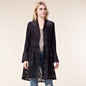 Black Long Faux Suede Jacket Lace Bell Sleeves